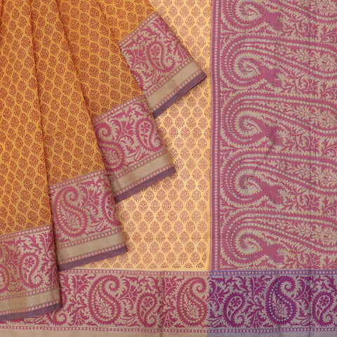 Muga zari handloom orange bagh print Saree