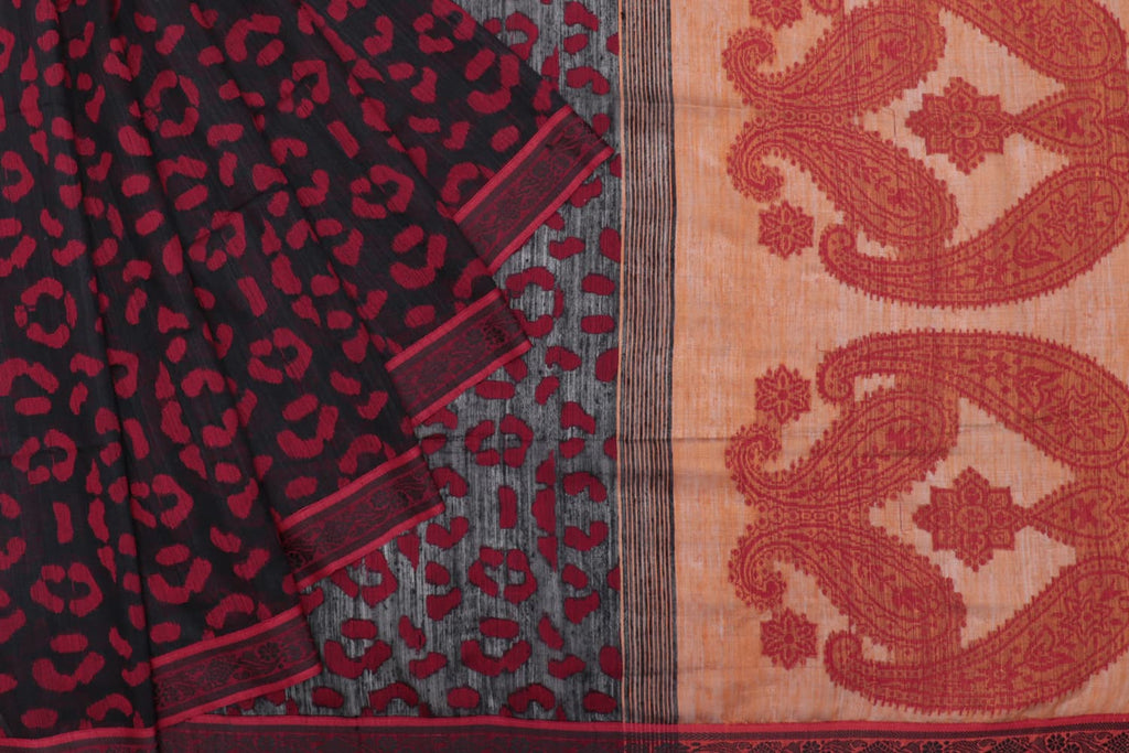 Jamdani silk handloom black and red abstract jamdani design Saree