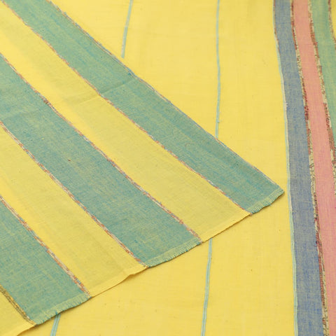 cotton handloom yellow khesh stripes Saree