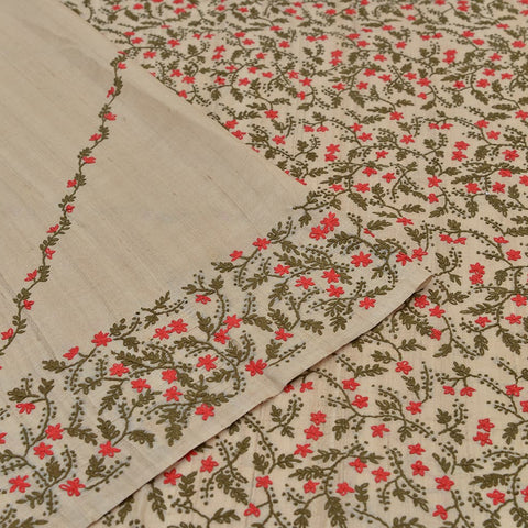 tussar silk handloom beige kantha stiches Saree