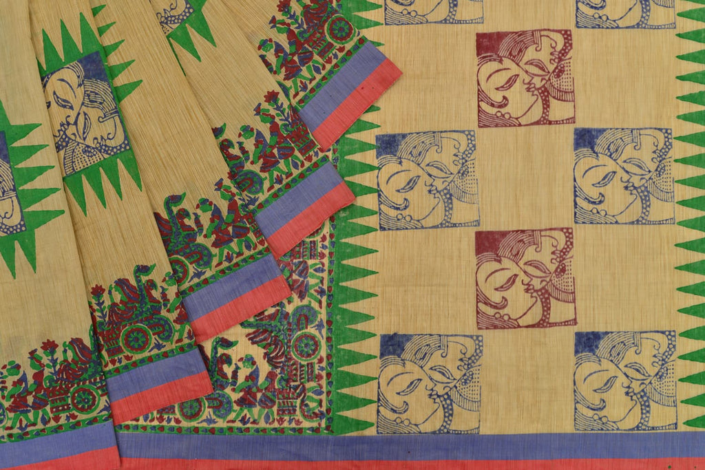 tussar silk handloom beige kalamkari faces Saree