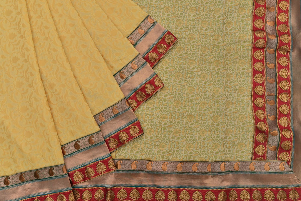chanderi silk cotton handloom beige floral all over Saree
