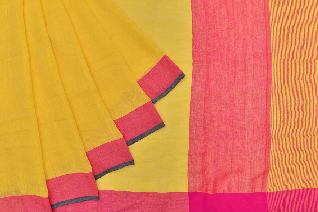 linen handloom yellow plain Saree