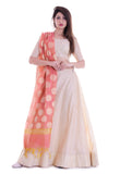 beige chanderi silk Beige Lehenga Set With Reach Banarasi Dupatta