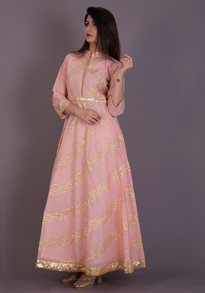 Handloom Peach Chanderi Anarkali Kurta
