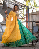 Handloom Green Silk Unstitch Lehenga With Unstitch Blouse And Dupatta
