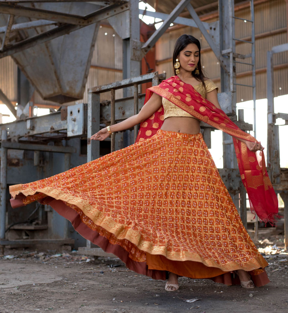 Handloom Orange Silk Unstitch Lehenga With Unstitch Blouse And Dupatta