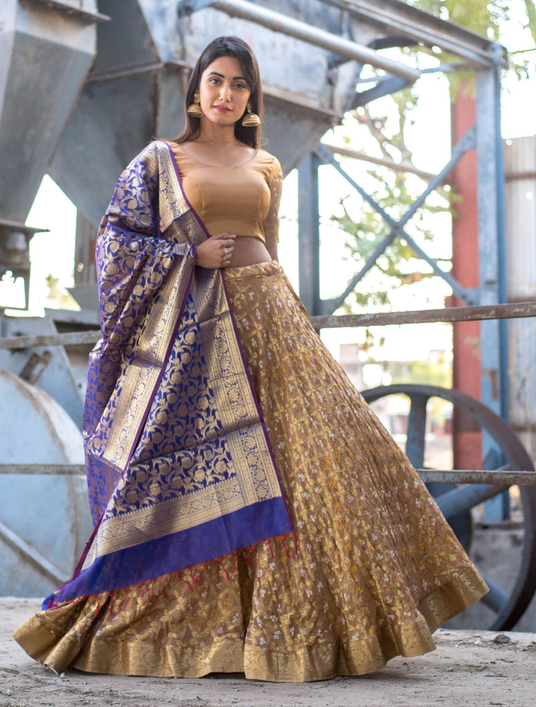 Handloom Golden Silk Lehenga With Stitch Blouse And Dupatta