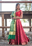 Handloom Red Silk Unstitch Lehenga With Unstitch Blouse And Dupatta