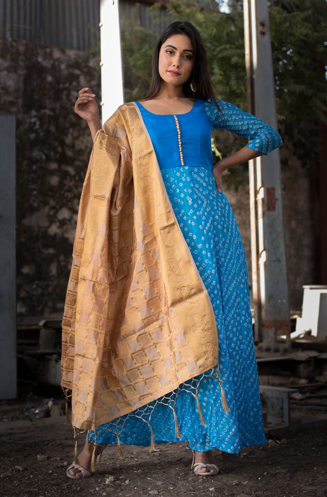 Handloom Blue Silk Anarkali With Dupatta