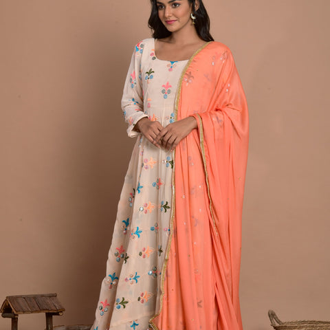 Solid Cream Peach Georgette Anarkali with Dupatta