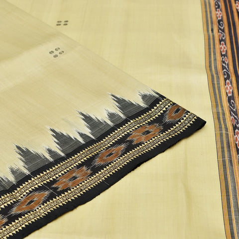 Cream Odisha Khandua Silk Ikkat Saree