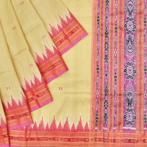 Cream and Pink Odisha Khandua Silk Ikkat Saree