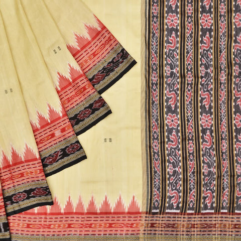 Cream with Double border Odisha Khandua Silk Ikkat Saree