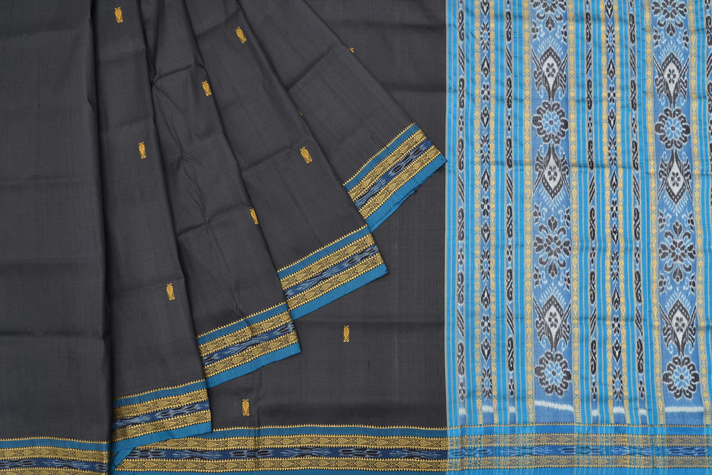 threadwork floral Silk blue sambalpuri pallu Saree