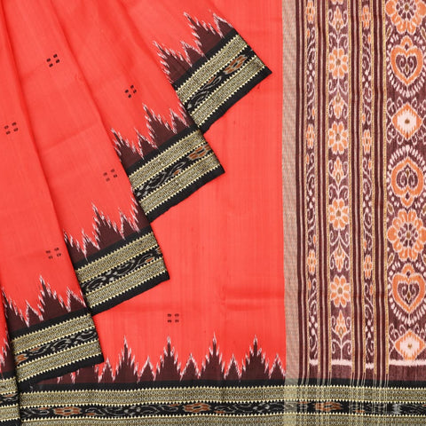 Red and Black Khandua Silk Ikkat Saree
