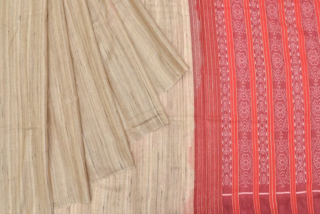 plain Tussar Ghicha Silk red sambalpuri pallu Saree