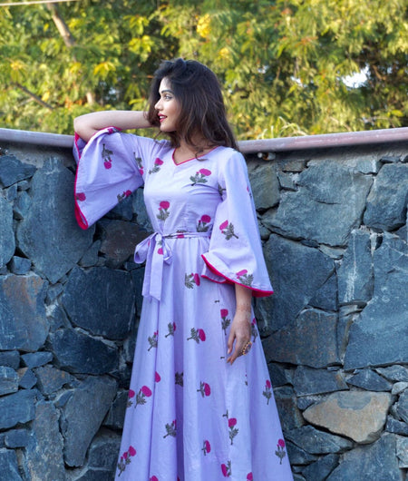 lavender block printed cotton Maxi Dress