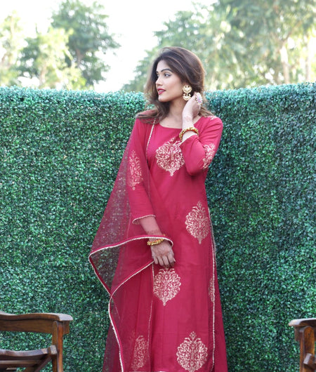 maroon block printed cotton Suit