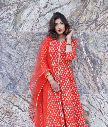 red block printed cotton Suit Set