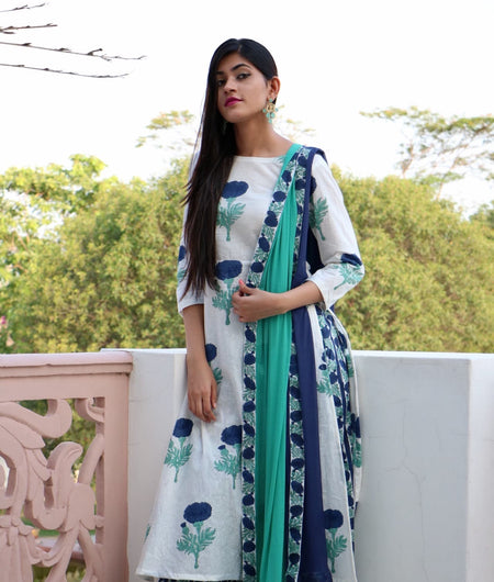 blue block printed cotton Suit Set