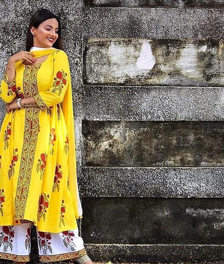 yellow block printed cotton Suit Set