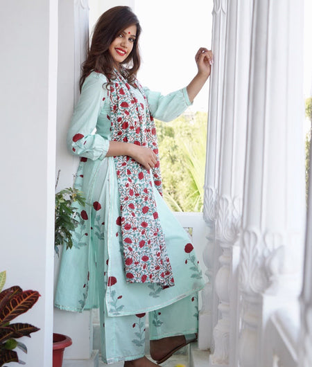 sea green block printed cotton Suit Set