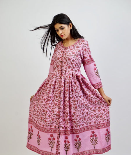 pink block printed cotton Cape