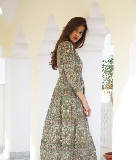 earth green block printed cotton Maxi Dress