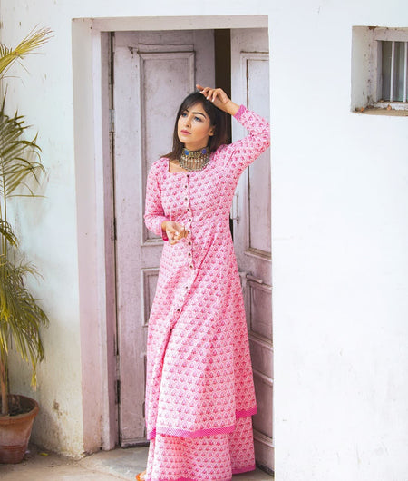 pink block printed cotton Suit Set