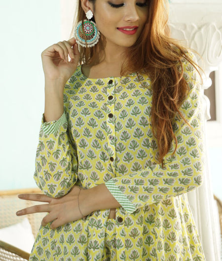 lemon block printed cotton Suit Set