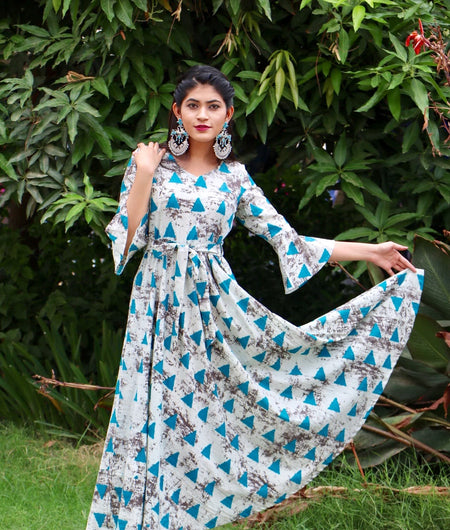 turquoise block printed cotton Maxi Dress