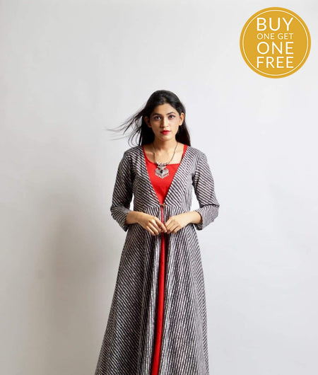 grey block printed cotton Suit Set