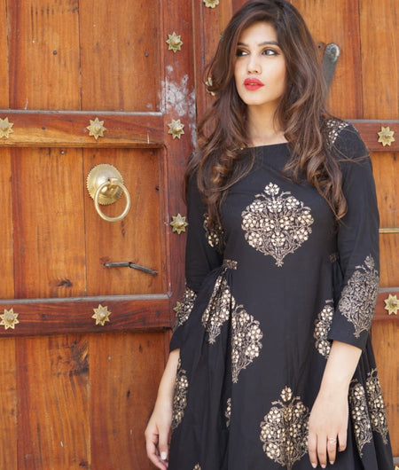 black block printed cotton Maxi Dress