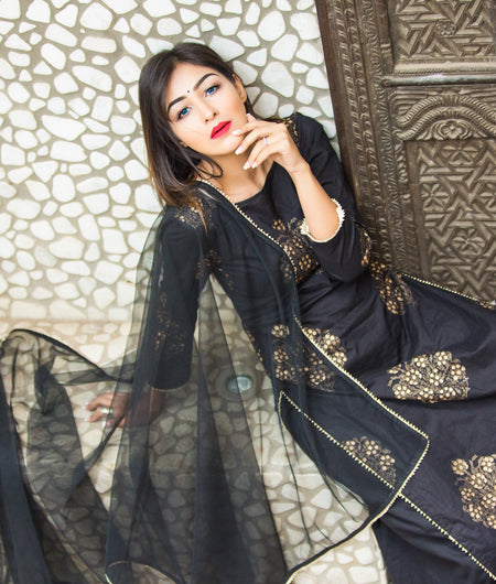 black block printed cotton Suit Set