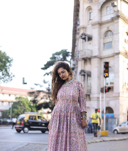 pink woven cotton Dress