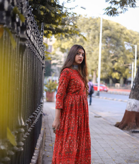 red woven cotton Dress