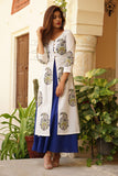 Blue Hand Block Printed Cotton Cape