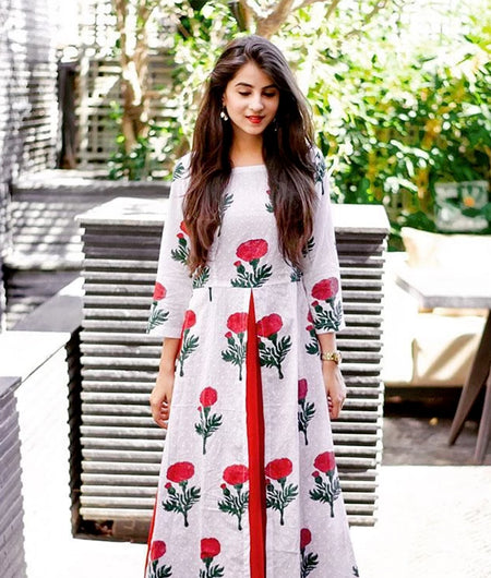 Red Hand Block Printed Cotton Tunic Set