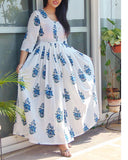 Blue Hand Block Printed Cotton Maxi Dress