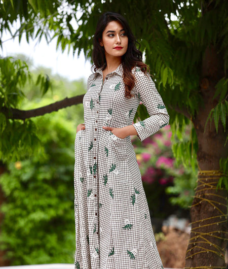 Green Jute Cotton Maxi With Hand Block Work