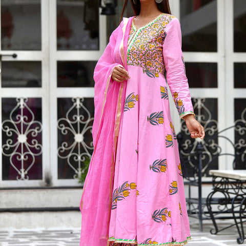 Pink Anarkali Sharara Set With Hand Block Work