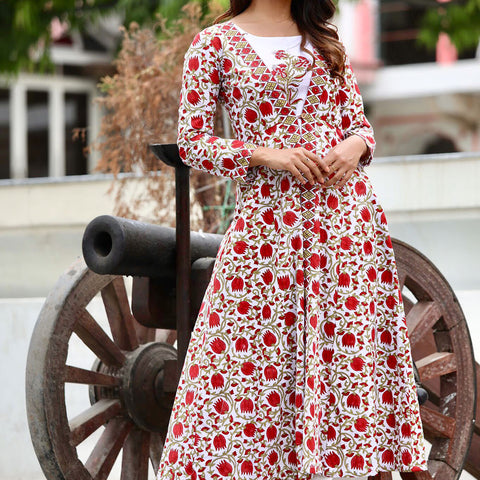 Red Lotus Maxi Jacket Plazzo Set With Hand Block Work