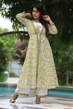 Yellow Lotus Maxi Jacket Plazzo Set With Hand Block Work