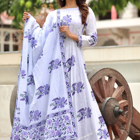 Lavender Anarkali Dupatta Set With Hand Block Work