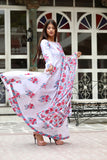 Pink Anarkali Dupatta Set With Hand Block Work
