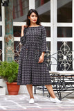 Black Kantha Maxi With Hand Block Work