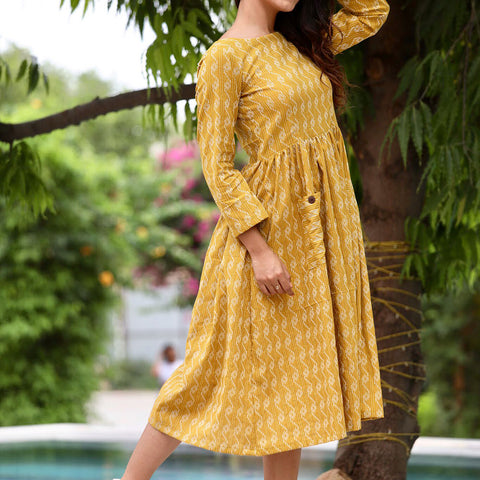 Mustard Kantha Maxi With Hand Block Work