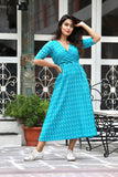 Turquoise Kantha Maxi With Hand Block Work