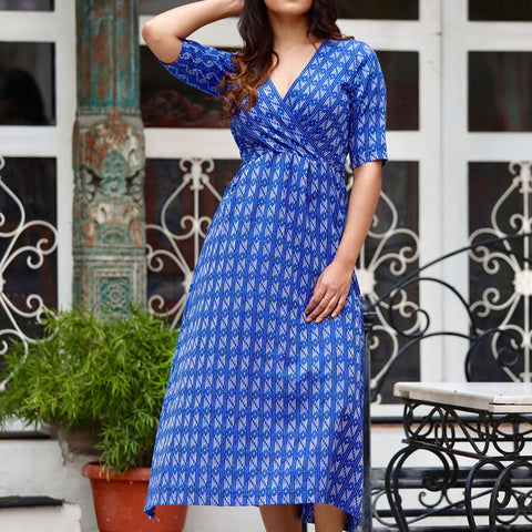 Blue Kantha Maxi With Hand Block Work